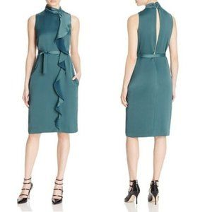 Reiss Green Lola Ruffle Front Sleeveless Dress 2